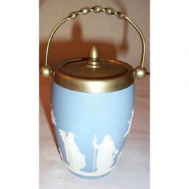 Wedgwood light blue small biscuit jar, 7 inches tall, Sold