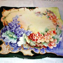 Limoges square plaque painted with grapes