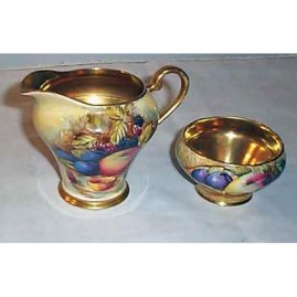 Aynsley sugar and creamer with gilt insides, Sold