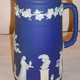 Tall Wedgwood dark blue jasperware pitcher, 1890-1920, 8 1/2 inches, $650.00