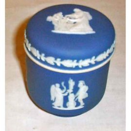 Wedgwood dark blue covered box, 1890-1920, 4 inches tall, Sold