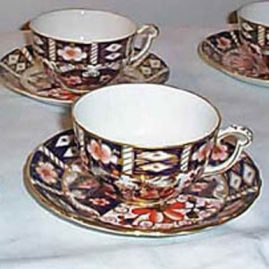 Five Royal Crown Derby Imari made for Tiffany cups and saucers