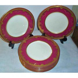 12 Minton made for Tiffany dinner plates with raised jeweling, 10 1/2 inches, Sold