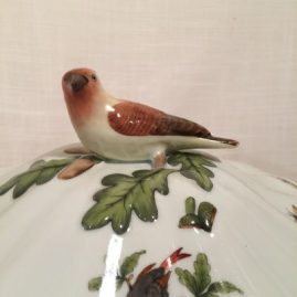 Top of Rare Rothschild bird tureen with figural bird on top