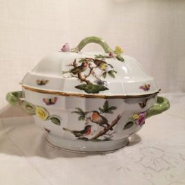 Rothschild bird tureen with raised flowers around the handles and the top, 15 inches wide by 10 inches tall, Price on Request
