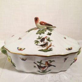Rare Rothschild bird tureen with figural bird on top, and raised flowers around the handles, 16 inches wide by 19 inches tall including bird, Price on Request