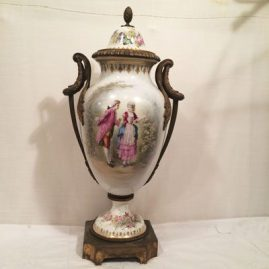Sevres  large urn with scene of lovers with ormolu handles, artist signed Luse, height 24 inches, ca-1846, Chateau de Tuileries $5500.00