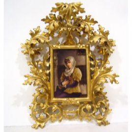 "Porcelain plaque of lovely lady with book in Venetian frame, without frame: 3 3/4"" by 5 1/2"", with frame,,14"" by 10"", Sold."