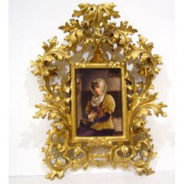 "Porcelain plaque of lovely lady with book in venetian frame, without frame: 3 3/4"" by 5 1/2"", with frame,14"" by 10"", Sold"