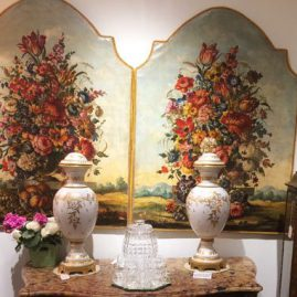 Pair of late 19th century Venetian oil on canvas, of floral still life, remounted. 53 inches tall by 40 inches wide, Price on Request