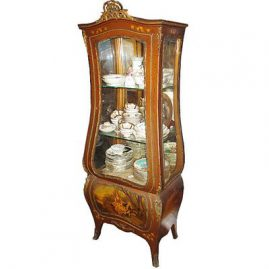 "Vernis Martin curio cabinet, late 19th century, with ormolu on top, 67 1/2"" tall, 25"" wide, depth 15"", storage on bottom, $4500.00"