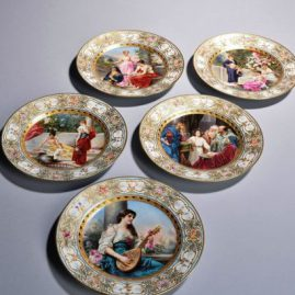 Five fabulous Royal Vienna plates, each painted beautifully with raised gilded and flowered borders