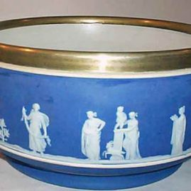 Wedgwood dark blue bowl with silver plate rim, before 1890, 9 inch diameter, $995.00