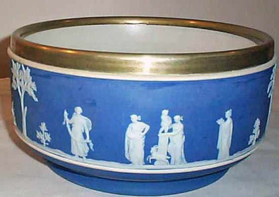 Wedgwood Dark Blue Jasperware Bowl With Silver Plate Rim