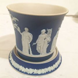Dark blue Wedgwood cache pot with under plate, made before 1890s, 4 1/2 inches tall by 4 1/2 inch diameter. Price on Request.