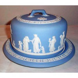 "Wedgwood light blue stilton cheese dish and cover, 10 1/2"" diameter by 7"" tall, 1890-1920, Sold"