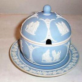 Wedgwood light blue covered condiment container, before 1890, 5 1/2 inches, $550.00