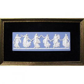 "Wedgwood plaque of Dancing Hours in frame, 1890s-1920s, without frame- 3 "" by 9"", with frame, 13 1/2"" by 8"", Sold"