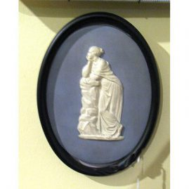 "Wedgwood plaque of lady, before 1890s, 7"" by 4 3/4"" without frame, Sold"