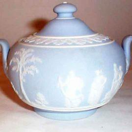 Wedgwood light blue jasperware covered sugar, before 1890