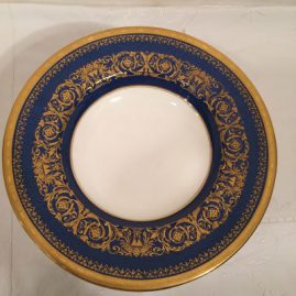 Set of 11 blue and gold Minton wide rim soup bowls, 8 3/4 inches, circa-1924. Price on Request