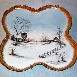 Limoges porcelain plaque of a winter scene