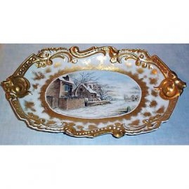 "Limoges winter scene, 17"" long, artist signed, dated 1894, $995.00"