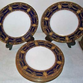 Six Royal Worcester service or dinner plates with raised gilding, ca-1923, 10 3/4 inches, Price on Request