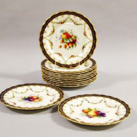 Set of 12 Royal Worcester fruit plates artist signed E. Phillips, each painted with different fruits, circa-1923, 8 3/4 inches. Price on Request.