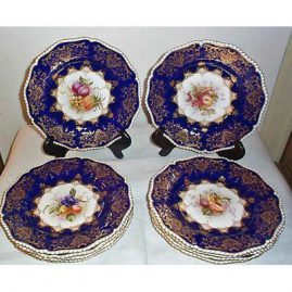 Royal Worcester fruit plates, all different fruits with fluted edge