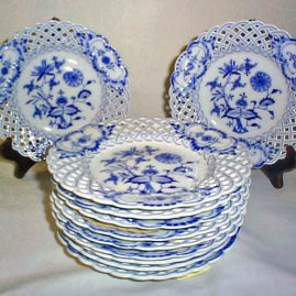 Meissen reticulated blue onion plates, ca-1890s, 8 inches. Price on Request
