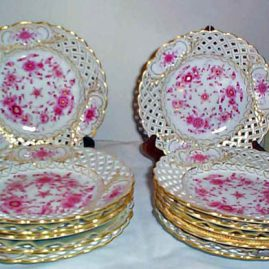 Meissen Purple Indian reticulated dessert or salad  plates, Set of eleven. Size-8 1/2 inches.  Sold.