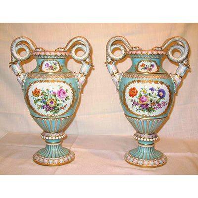 Back Of Meissen Vases With Boucher Scenes Elegant Findings Antiques
