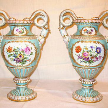 Back of pair of Meissen vases with Boucher scenes on front and flowers on the   back, ca-1880s-1890s, SOLD. We do have other large snake  handled vases.