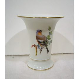 Meissen bird vase with caterpillar and butterfly on back