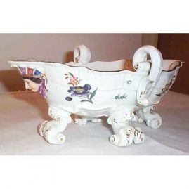 Meissen antique bowl with figural faces on each side,  10 by 7 inches, Sold