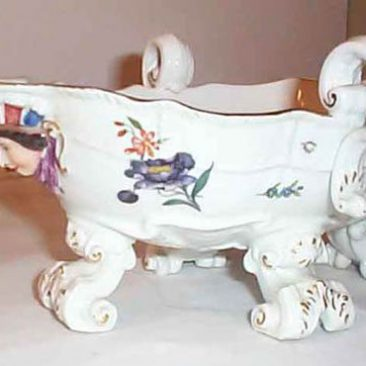 Meissen 18th century bowl with figural faces. Sold. We have many other rare Meissen pieces available.