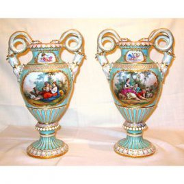 Pair of Meissen vases with Boucher scenes beautifully painted on front and flowers in the back, ca-1880s- 1890s, SOLD