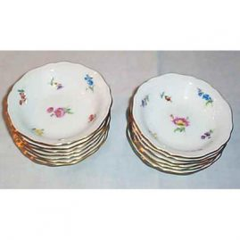 Eleven Meissen Streublumen fruit bowls, 1951-1953, $85.00 each