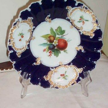 Meissen fruit charger, 1870s-1880s, 11 1/4 inches, sold. We have other Meissen chargers