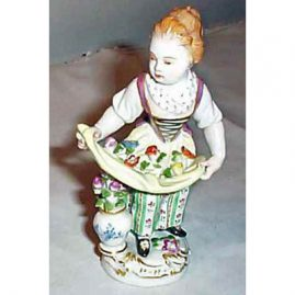 Meissen gardener girl, good condition, Sold, 5 inches. We have many other  Meissen figurines available. Please look through our Meissen section.