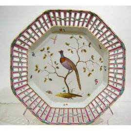 One of a pair of Meissen Marcolini reticulated bird chargers