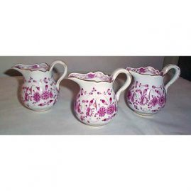 Meissen Purple Indian creamers, 1890s-1900