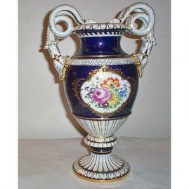 Meissen cobalt snake handled vase with flowers