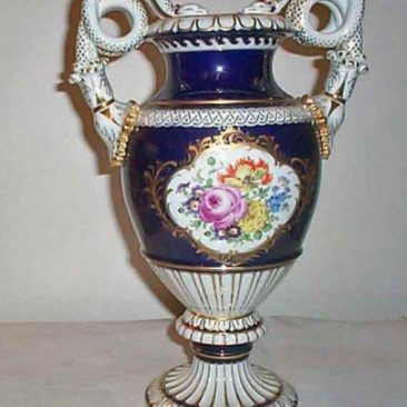 Meissen cobalt snake handled vase with flowers , Circa 1923-1933, sold