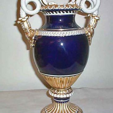 Meissen cobalt snake handled vase, Circa 1900, 15 inches, Sold