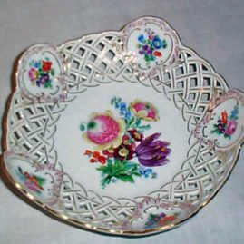 Meissen reticulated flowered bowl, ca-1900, 9 inches, Price on Request.