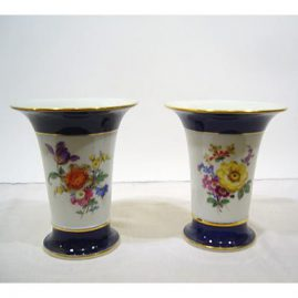 "Pair of Meissen cobalt and flowered vases with two different bouquets  on each vase, 6 1/2"" tall by 5 1/2 "" wide, 20th century, $1400.00"
