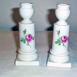 Pair of Meissen pink rose candlesticks, circa 1890s, 6 inches, $550.00