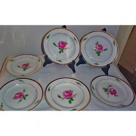 6 Meissen pink rose plates ca-1880s, Sold